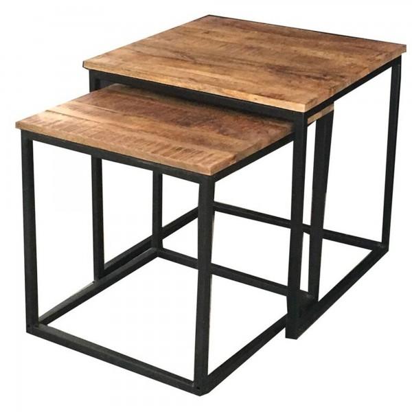 Beistelltisch 2er Set Schwarz Metall Holz Braun Mangoholz Industrial Vintage Design