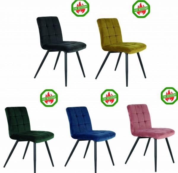 Stuhl Feuerresistent Esszimmerstuhl verschiedene Farben Küchenstuhl Samt Vintage Retro Elegant