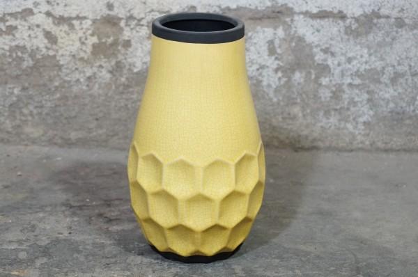 Vase Bodenvase Gelb Retro Vintage Handgemacht