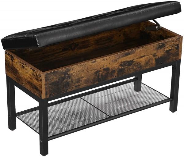 Sitzbank Schuhbank Truhe Box Industrie-Design Stauraum Vintagebraun Schwarz