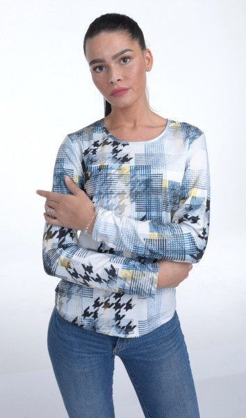 Langarm Shirt hochwertige Qualität weiß mehrfarbiger moderner abstrakter Druck