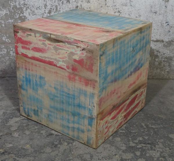 Hocker Beistelltisch Würfel Holz Treibholz Bunt Loft Dunkelblau Rot Washed Modern Upcycling