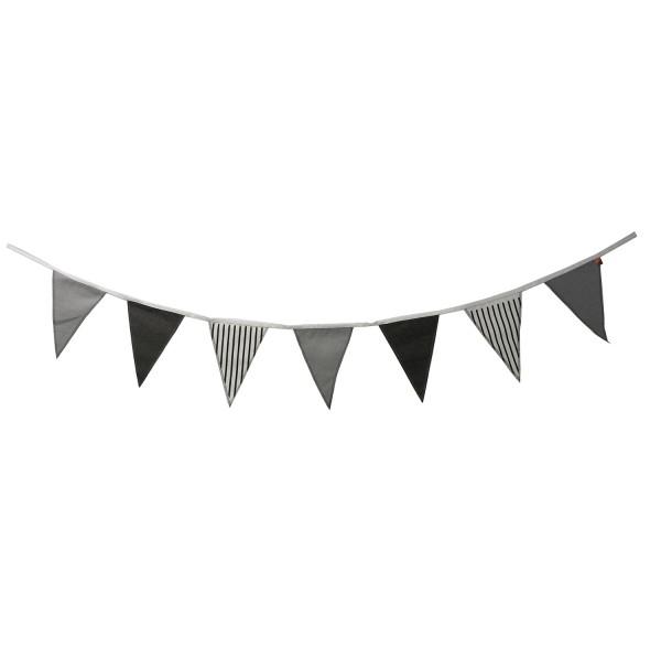 Girlande Stoff Canvas Wimpelgirlande grau schwarz weiß Party Kinderzimmer Wimpel
