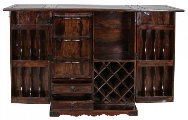 Bar Braun Antik Look Hausbar Massivholz Sheeshamholz Flaschenregal Türen