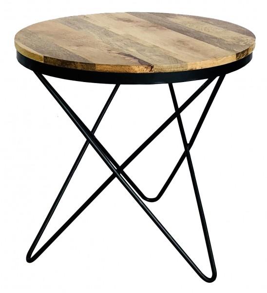 Beistelltisch Schwarz Metall Holz Braun Mangoholz Industrial Vintage Design-Copy