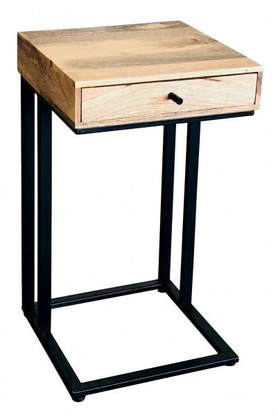 Beistelltisch Nachttisch Massiv Industrial Metall Holz Mangoholz Vintage Design