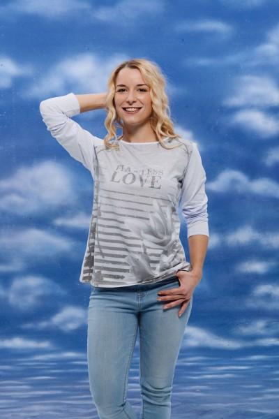 Langarm Shirt hochwertige Qualität weiß grau modernen Druck floral Streifen weiß grau Strass Made in