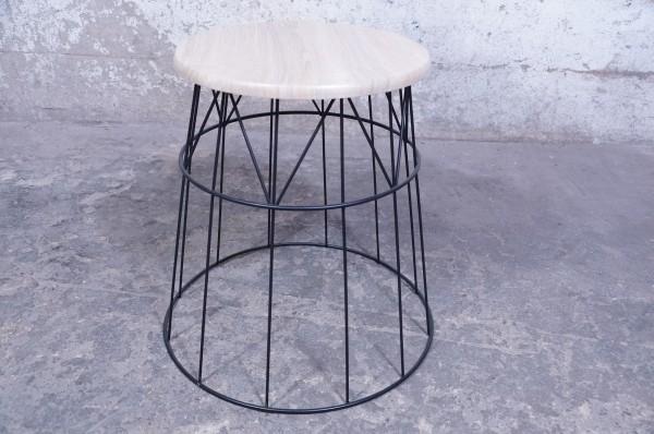 Beistelltisch Schwarz Metall Modern Industrial Design Korb MDF Holzoptik Rund