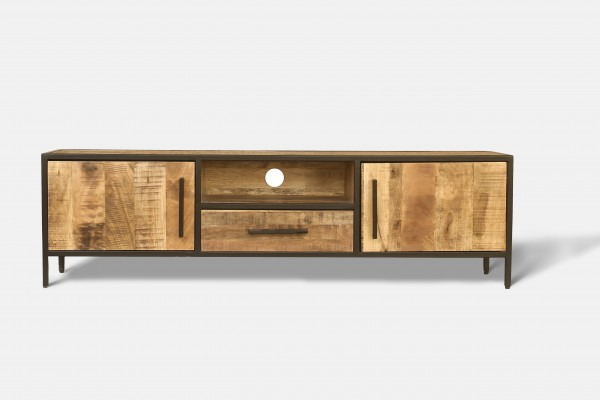 TV Board Sideboard Lowboard Massivholz Metall Steampunk Vintage Industrial Loft Design