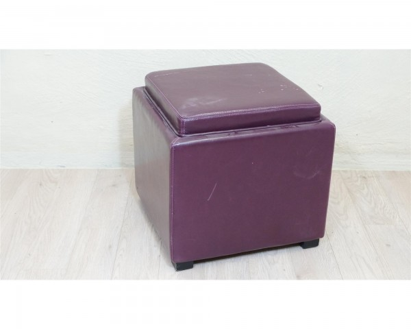Sitztruhe Hocker Wäschetruhe Spielkiste violett gepolstert Lederoptik