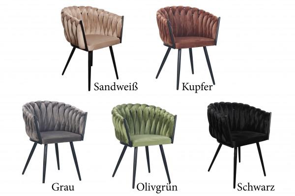 Stuhl Esssessel Lehne Armlehne Metall Samt Polsterstuhl Küchenstuhl Vintage Modern
