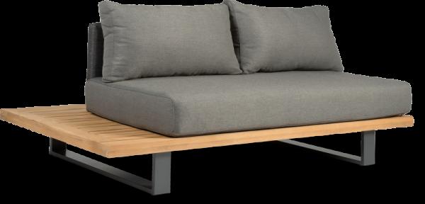 Lounge 2Sitzer Sofa Polster Teak Holz Gartencouch