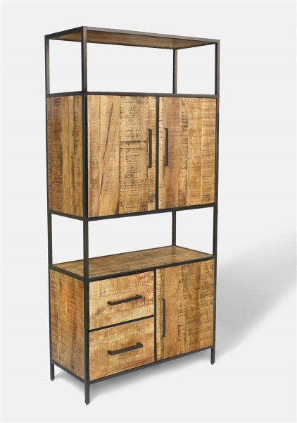 Massivholz Regal Metall Bücherregal Highboard Steampunk Vintage Industrial Loft Design