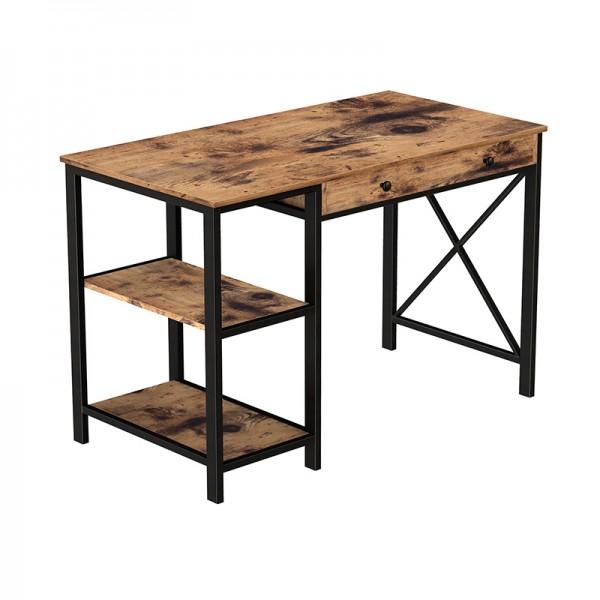 Schreibtisch Computertisch Industrial-Design Metall Holz Vintagebraun-Schwarz