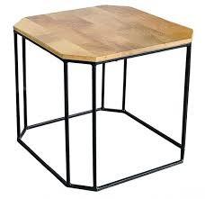 Couchtisch SMALL Schwarz Metall Coffeetable Holz Braun Mangoholz Industrial Vintage Design