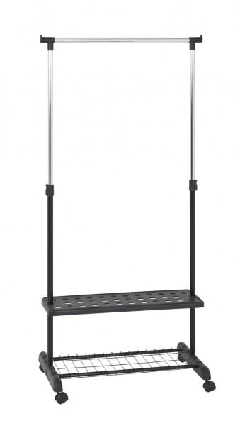 Rollgarderobe Schwarz modern ausziehbar Ablagefach Ablageboden Höhenverstellbar Chrom