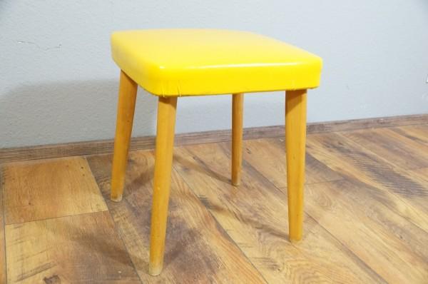 Hocker Retro Gelb Kunstleder Holz Polster Gebraucht second Hand