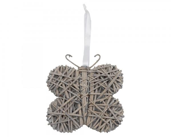 Holz Korb Schmetterling mit weißer Schleife Hänger Landhausstil Country