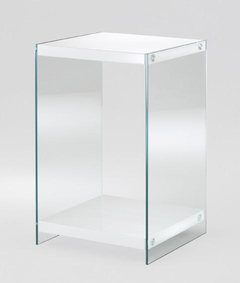 Beistelltisch Regal Ablage Sicherheitsklarglas weiß MDF Modern