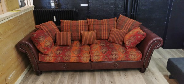 Couch Colonial Big Size Sofa Kunstleder Rotbraun Polster Stoff Muster gebraucht