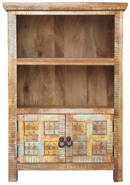 Shabby Chic Vintage Regal Bücherregal Massiv Braun Bunt geschnitzt Washed