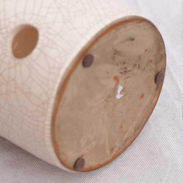 Windlicht Keramik,Craquelée, Weiß Creme Handarbeit, mit Henkel, Landhausstil