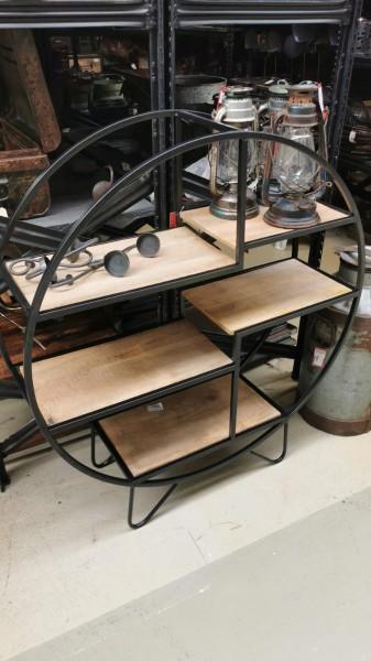 Regal Rund Standregal Metall Bücherregal Massivholz Steampunk Vintage Industrial Loft Design