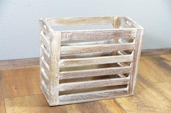 Zeitungsständer Kiste Box Holz Massivholz Mangoholz weiß Landhaus Washed gekälkt Indien