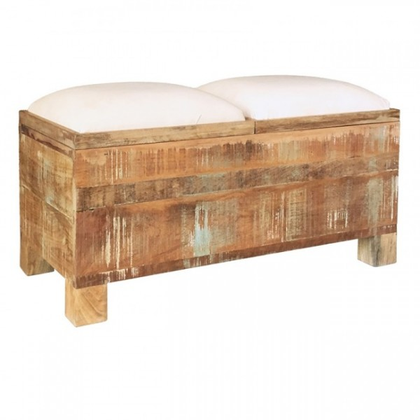 Hocker Doppel Sitzhocker Holz Massiv Mangoholz Shabby Chic Polster Natur Braun Weiß