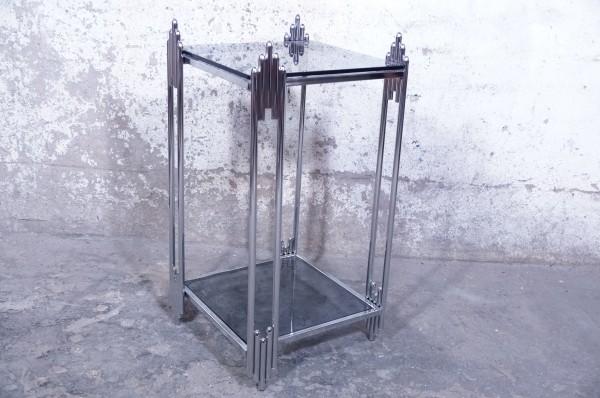 Beistelltisch Modern Chrom Rauchglas Glas Silber Hochwertig Hochglanz Design Abstrakt