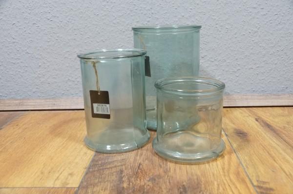 Vase Blumenvase 3er Set klar/bläulich Dekoration Glas
