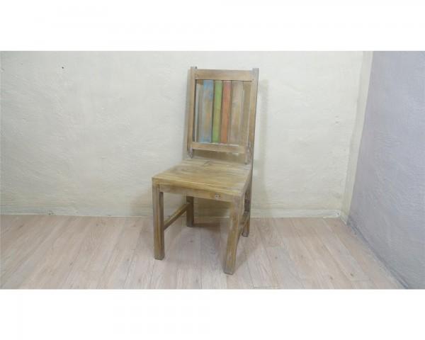 Stuhl Modern Massiv Kiefer Rot washed Optik Blau Grün Rot Shabby