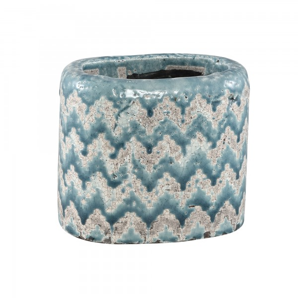Blumentopf Keramiktopf Dutch-Design Oval Geometrisch Petrol