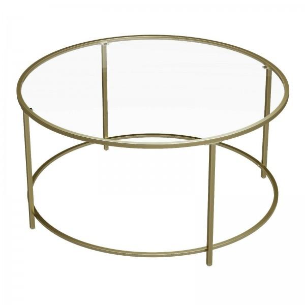 Couchtisch Wohnzimmertisch Glastisch Modern Rund Metall Hartglas Gold
