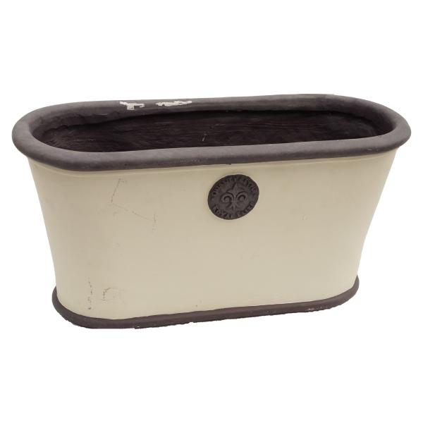 Weiß grau Vintage Pflanzkübel Ton Handarbeit Landhaus Wohnliebhaber