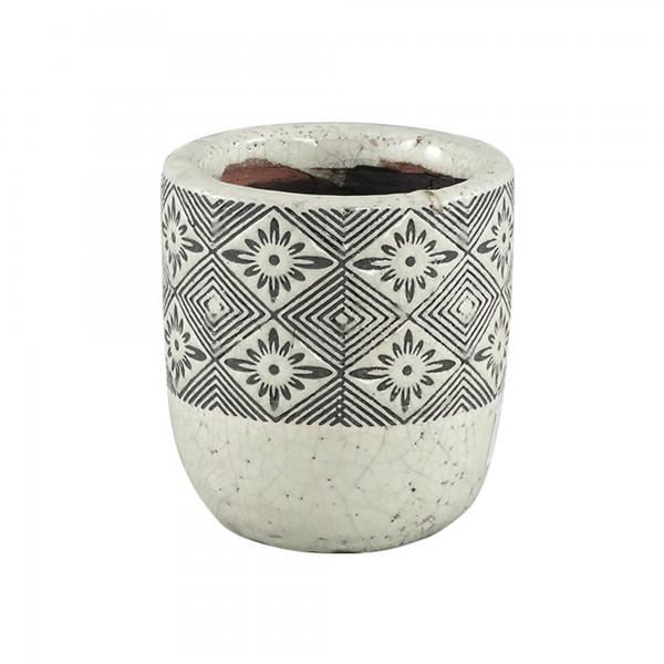 Blumentopf Pflanzengefäß Dutch-Design Keramik Rund Schwarz-Weiß
