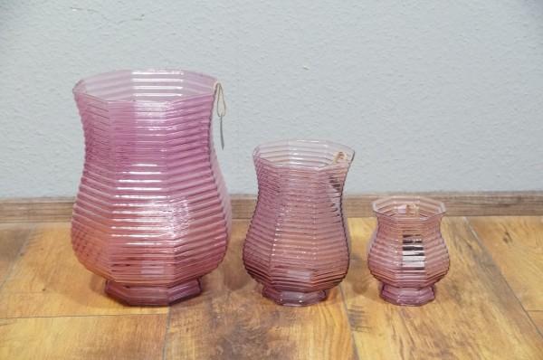 Vase Blumenvase 3 er Set Pink Recycled Glas Restposten Modern