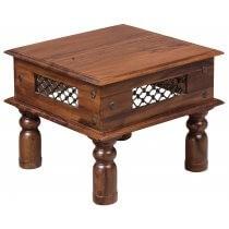 Beistelltisch Tisch Massivholz Vintage Natur Metall Sheeshamholz