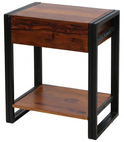 Beistelltisch Schwarz Metall Nachttisch Holz Braun Sheeshamholz Industrial Vintage Design