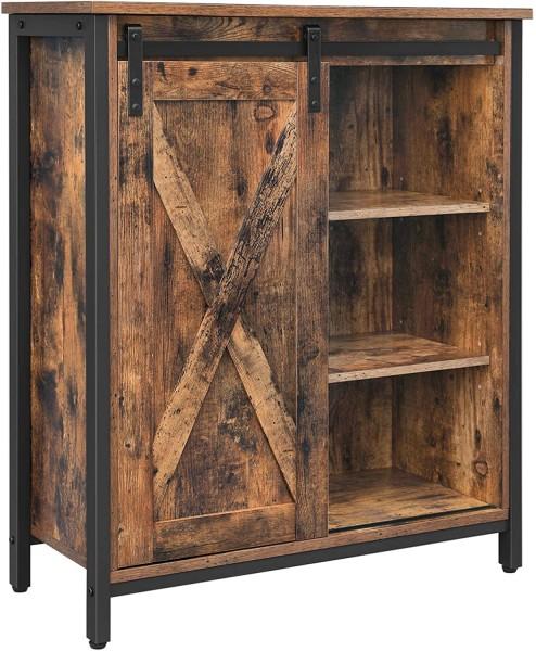 Küchenschrank Sideboard Kommode Schiebetür Regalebenen Industrie-Design Vintagebraun Schwarz