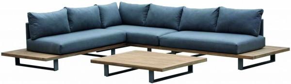 Loungegruppe 4-Teilig Sitzgruppe Polster Teak Holz Gartengarnitur Sitzgarnitur