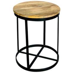 Hocker Stuhl Schemel Massiv Mangoholz Metall Rund Beistelltisch Industrial Vintage Design-Copy
