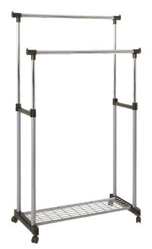 Moderne Rollgarderobe höhenverstellbar Kleiderständer Kledierstange Garderobenwagen Chrom Silbergrau