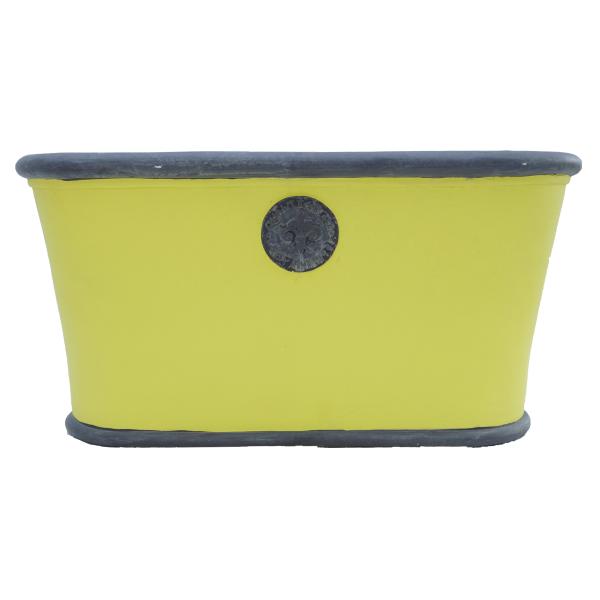 gelb grau Vintage Pflanzkübel Ton Handarbeit Landhaus Wohnliebhaber