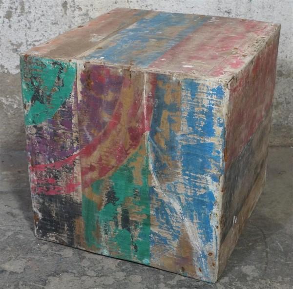 Hocker Beistelltisch Würfel Holz Treibholz Bunt Loft Bunt Washed Modern Upcycling