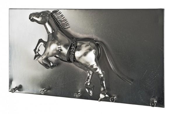 Rustikale Wandgarderobe verchromtes Metall Wildpferd Pferd Design Kunst