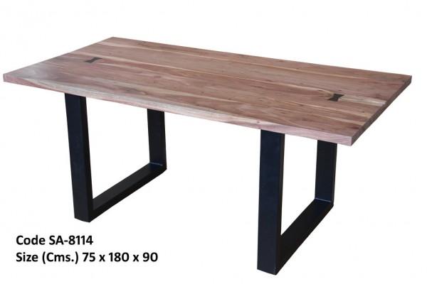 Esstisch Schwarz Metall Tisch Holz Braun Massiv Mangoholz Industrial Vintage Design