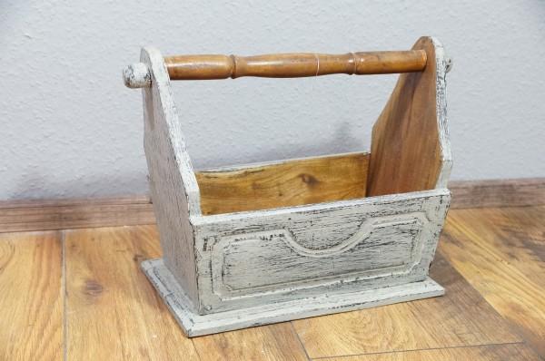 Zeitungsständer Kiste Box Holz grey washed Landhaus Indonesien Massivholz Treibholz