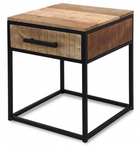 Beistelltisch Schwarz Metall Nachttisch Holz Braun Mangoholz Industrial Vintage Design