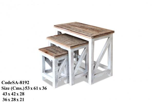 Beistelltisch 3er Set Weiß Braun Shabby Chick Blumenbank Massivholz Mangoholz